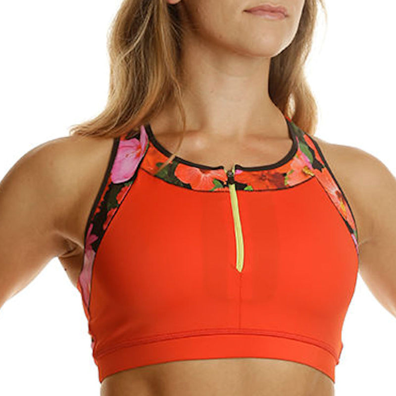 Hibiscus Apex Sports Bra w/ EMF Safety Cell Phone Pocket - red/hib/blk