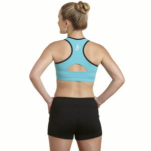 Apex Sports Bra w/ EMF Safety Cell Phone Pocket - turq/turq/blk