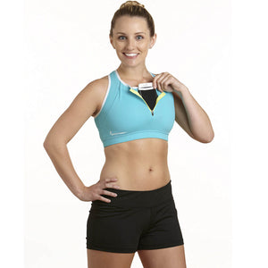 Apex Sports Bra w/ EMF Safety Cell Phone Pocket - turq/turq/wht