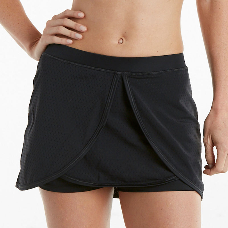 Athletic Stretch Tulip Design Workout Skort - blk/blk