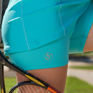 Athletic Compression Workout Shorts - Short-Length - turq/turq
