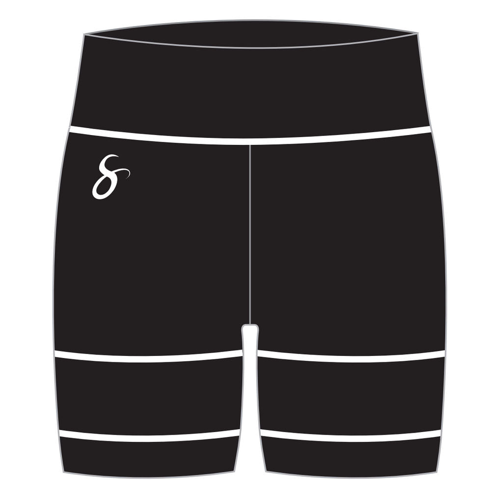 Athletic Compression Workout Shorts - Long Thigh-Length - blk/wht