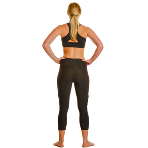 Cargo Side-Zippered Pockets Workout Leggings - Capris-Length - blk/blk