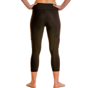 Cargo Workout Leggings w/ Side-Zippered Pockets & Tummy-Control - Capris-Length - blk/blk