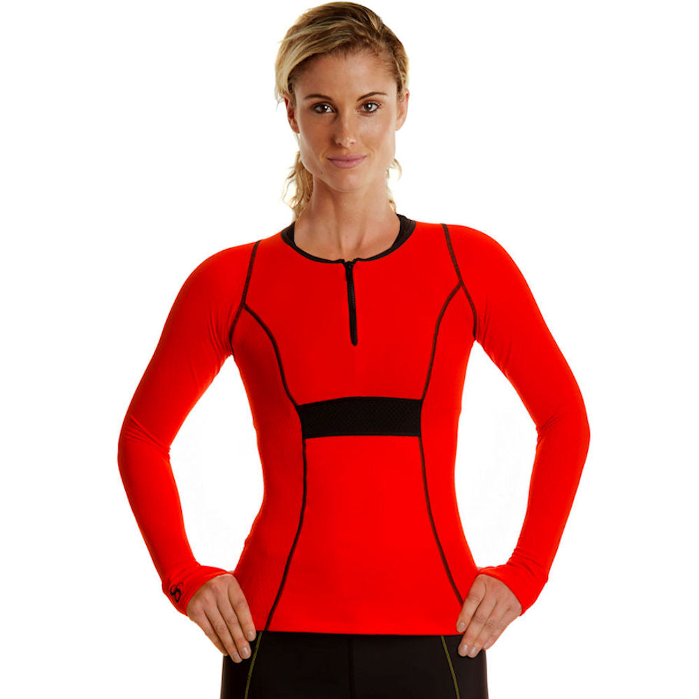 Full Cover Athletic Stretch Long Sleeve Front Zip Sun Protective Shirt - red/blk/blk