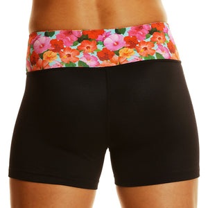 Hibiscus Athletic Compression Workout Shorts - Short-Length - blk/hib