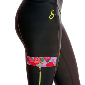 Hibiscus Cargo Side-Zippered Pockets Workout Leggings - Capris-Length - blk/hib