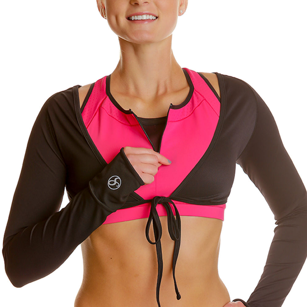 Long Sleeve Fitness Shrug Top - blk/blk