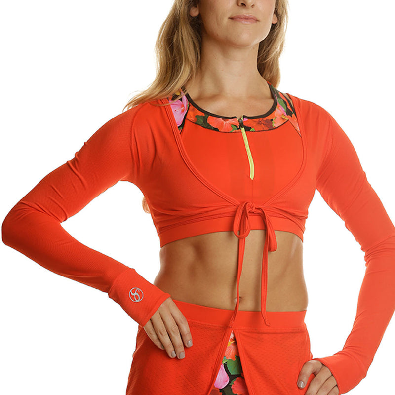 Long Sleeve Fitness Shrug Top - red/red