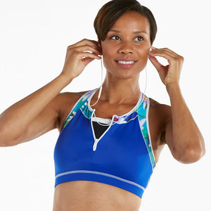 Monet Apex Sports Bra w/ EMF Safety Cell Phone Pocket - blu/mon/wht