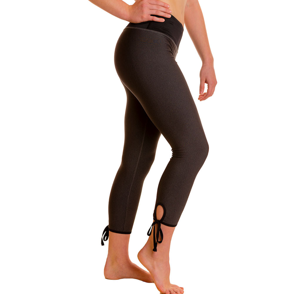 Polartec Power Stretch Yoga Pants - Capris Length - gryd/blk