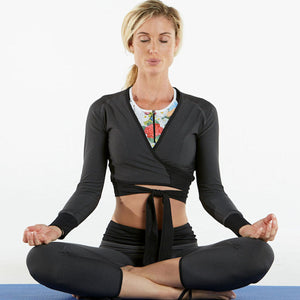 Polartec Stretch Long-Sleeve Wrap & Tie Crop Top - gryd/blk