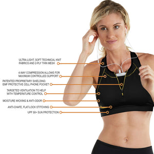 Apex Sports Bra w/ EMF Safety Cell Phone Pocket - blk/blk/blk