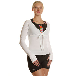 Tech V-Neck Long Sleeve Cover-Up Shirt - wht/wht