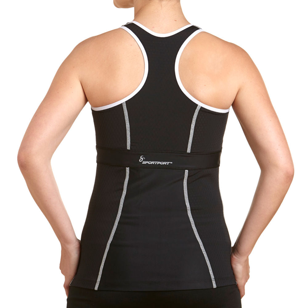 Zephyr Tank Top w/ Built-In Sports Bra & EMF Safety Cell Phone Pocket - blk/blk/wht/turq