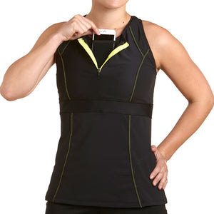Zephyr Tank Top w/ Built-In Sports Bra & EMF Safety Cell Phone Pocket - blk/blk/ylw/ylw