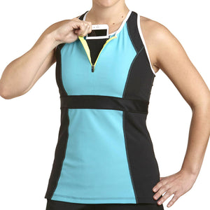Zephyr Tank Top w/ Built-In Sports Bra & EMF Safety Cell Phone Pocket - turq/blk/wht/ylw