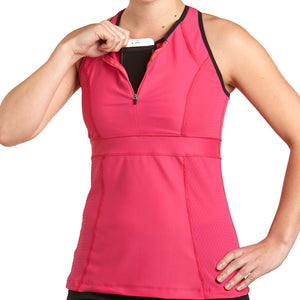 Zephyr Tank Top w/ Built-In Sports Bra & EMF Safety Cell Phone Pocket - pnk/pnk/blk/pnk