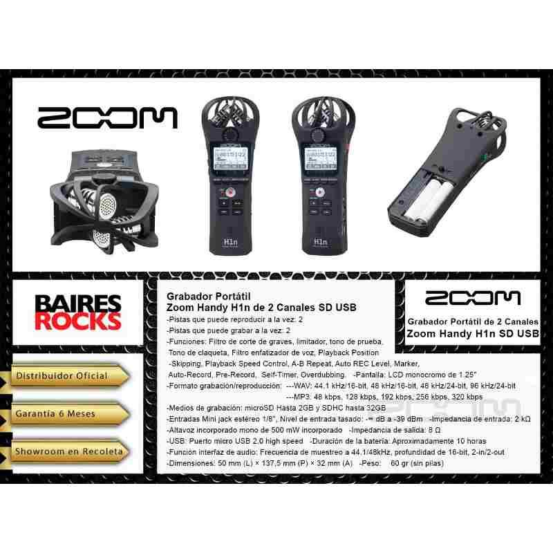 Grabador Portatil Zoom Handy Recorder H1n 2 Canales Sd Usb-Audio Rocks