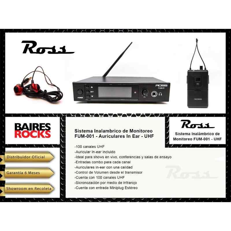 Sistema De Monitoreo Intraural Ross Fum-001 Estereo Canales Uhf Con Frecuencia Variable Entrada Xlr Y Control De Volumen-Audio Rocks