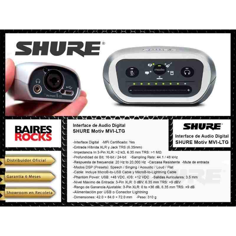 Interface Audio Digital Shure Motiv Mvi-ltg Phantom Xlr Jack-Audio Rocks