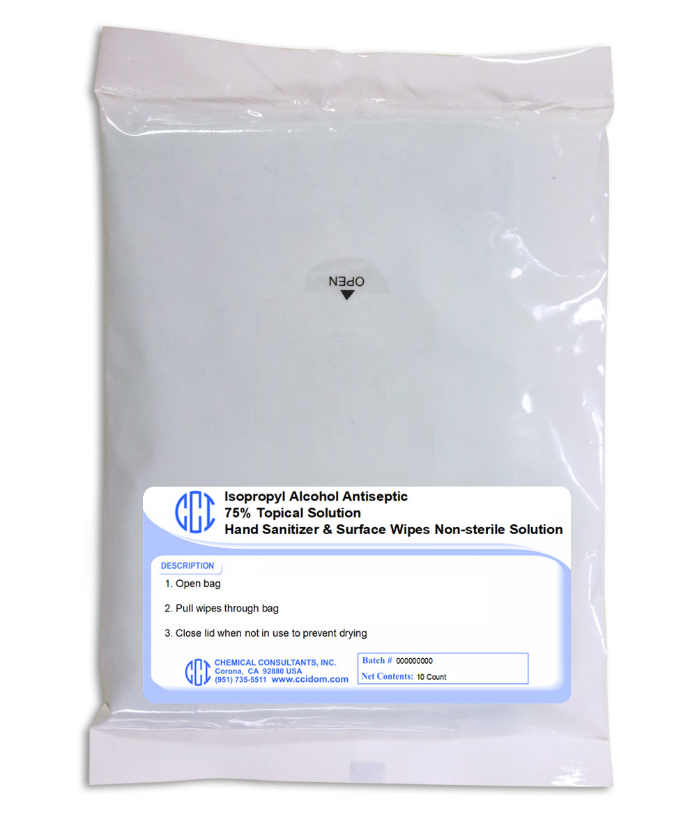 Alcohol Hand and Surface Wipes  - 75% Alcohol - 10 count