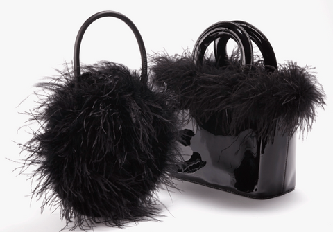 black feather bag