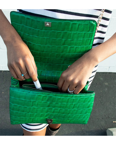 Author of article close up shot of green handbag