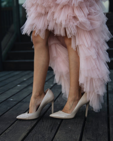 tiered pink ruffle skirt