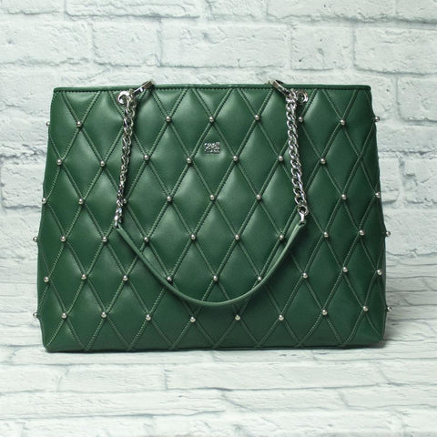 the guilty woman's green leather shoulder bag