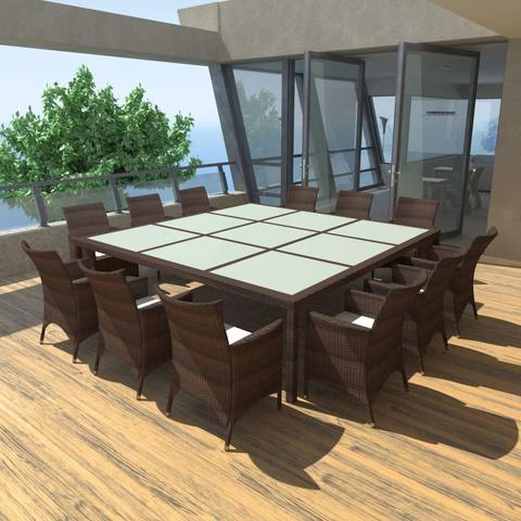 12-PERSON POLY RATTAN OUTDOOR DINING SET - Loungeout