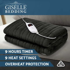 Giselle Bedding Heated Electric Throw Rug Fleece Snuggle Blanket Washable Charcoal