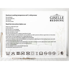 Giselle Bedding Heated Electric Throw Rug Fleece Snuggle Blanket Washable Silver