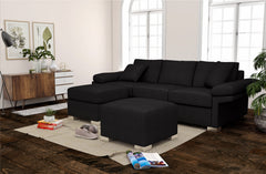 Black Lounge | Chaise Sofa | Wembley 3 + Chaise ( Black )