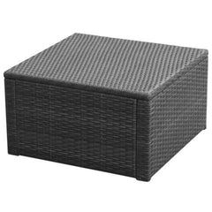 FOOTSTOOL POLY RATTAN OTTOMAN - BLACK - Loungeout