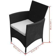 GARDEN FURNITURE POLY RATTAN SET (13 PCS) - BLACK - Loungeout