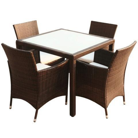 GARDEN FURNITURE POLY RATTAN SET (9 PCS) - BROWN - Loungeout