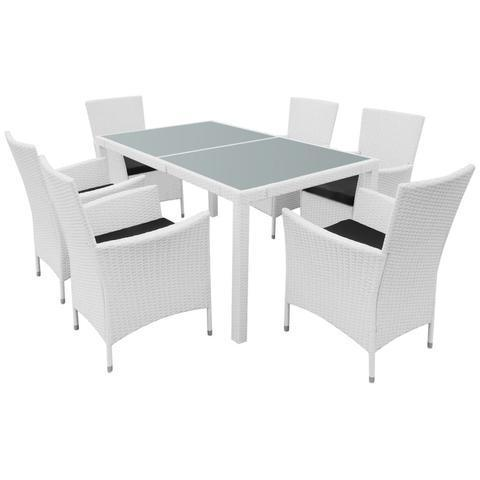 GARDEN POLY RATTAN DINING SET (13 PCS) - CREAM WHITE - Loungeout