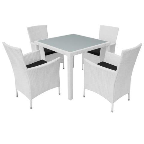 GARDEN POLY RATTAN DINING SET (9 PCS) - CREAM WHITE - Loungeout