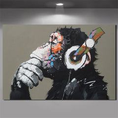 Large Animal Picture Canvas Printed Painting Modern Funny Thinking Monkey with Headphone Wall Art Poster for Living Room Decor