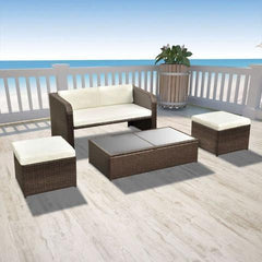 OUTDOOR POLY RATTAN DINING SET (9 PCS) - BROWN - Loungeout