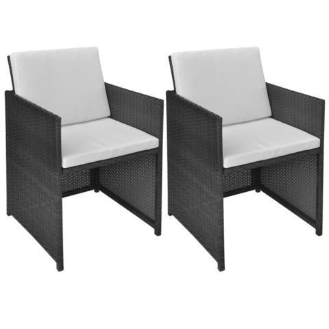 POLY RATTAN DINING CHAIRS (2 PCS) - BLACK - Loungeout