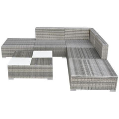 POLY RATTAN GARDEN SOFA SET (15 PCS) - GREY - Loungeout