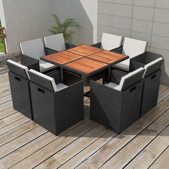 POLY RATTAN OUTDOOR DINING SET (25 PCS) - BLACK - Loungeout