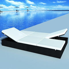 POLY RATTAN DOUBLE SUN LOUNGER (BLACK) - Loungeout
