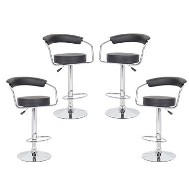4x Black PU Leather Half-Moon Kitchen Bar Stools