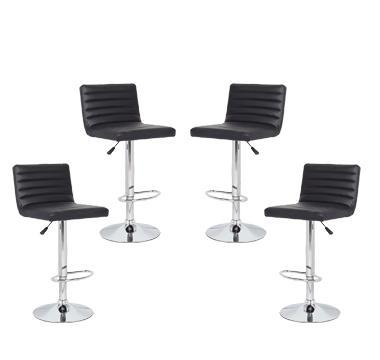 4x Black PU Leather Full Sectioned Kitchen Bar Stools