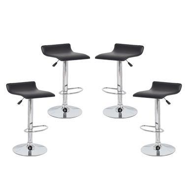 4x Black PVC Contemporary S-Curve Kitchen Bar Stools
