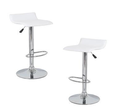 2x White PVC Contemporary S-Curve Kitchen Bar Stools