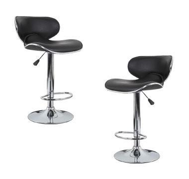 2x Black PU Leather Figure-Eight Kitchen Bar Stools